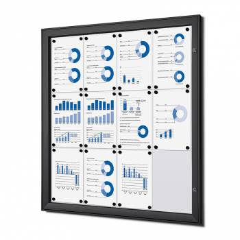 12xA4 Lockable Dry Wipe Noticeboard, black