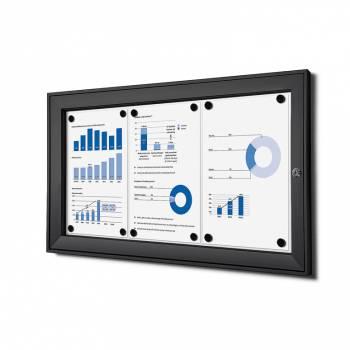 3xA4 Lockable Dry Wipe Noticeboard, black
