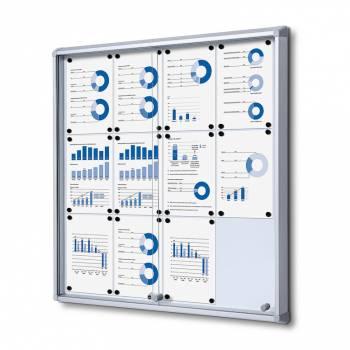 12xA4 Dry Wipe Indoor Lockable Noticeboard with Sliding Doors
