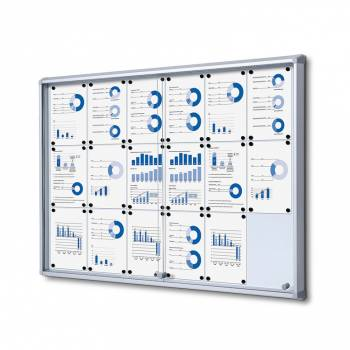 18xA4 Dry Wipe Indoor Lockable Noticeboard with Sliding Doors