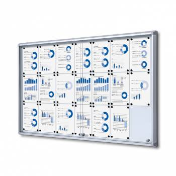 21xA4 Dry Wipe Indoor Lockable Noticeboard with Sliding Doors