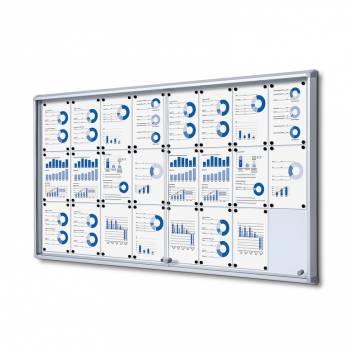 24xA4 Dry Wipe Indoor Lockable Noticeboard with Sliding Doors