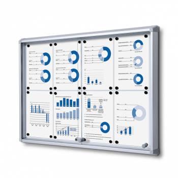 8xA4 Dry Wipe Indoor Lockable Noticeboard with Sliding Doors