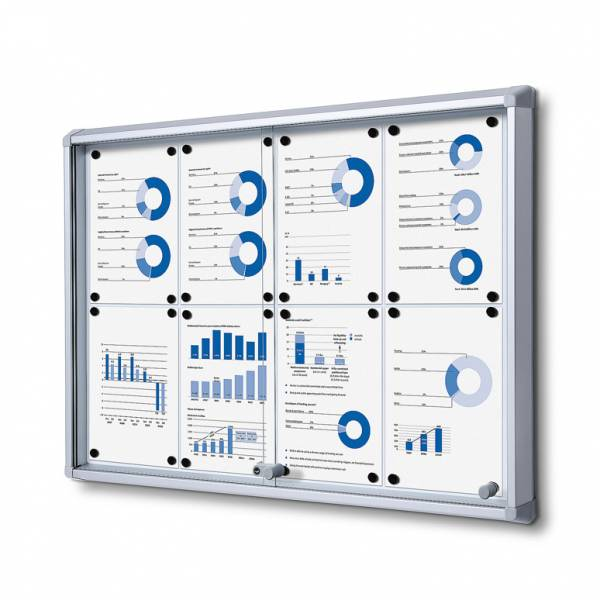 8xA4 Dry Wipe Indoor Lockable Noticeboard with Sliding Doors