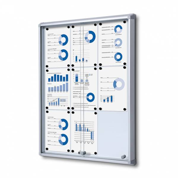 9xA4 Dry Wipe Indoor Lockable Noticeboard with Sliding Doors