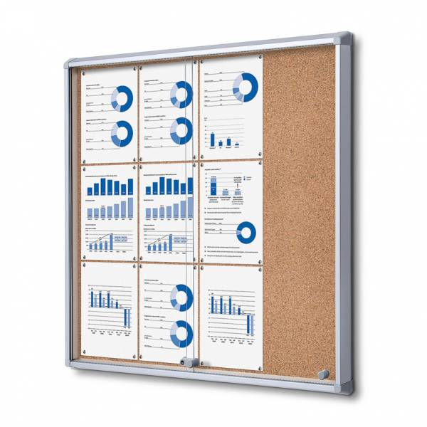 Cork Board with sliding doors (12xA4)