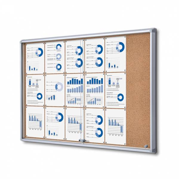 Cork Board with sliding doors (18xA4)