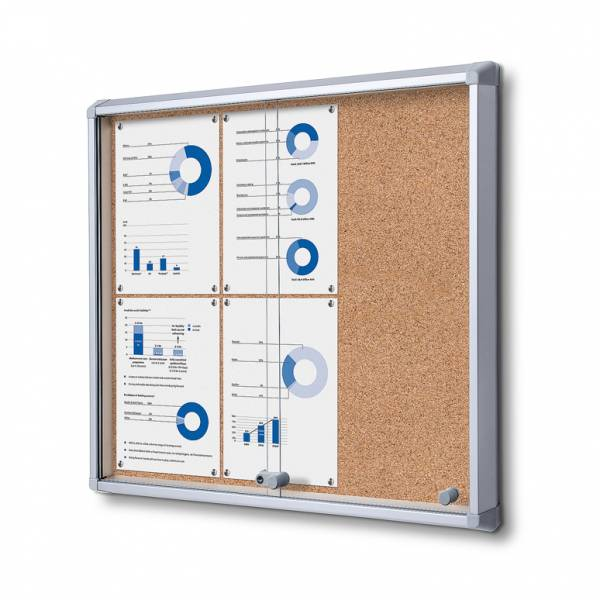 Cork Board with sliding doors (6xA4)