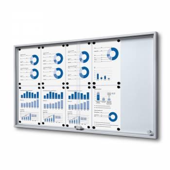 10xA4 Indoor Lockable Noticeboard with sliding doors SLIM