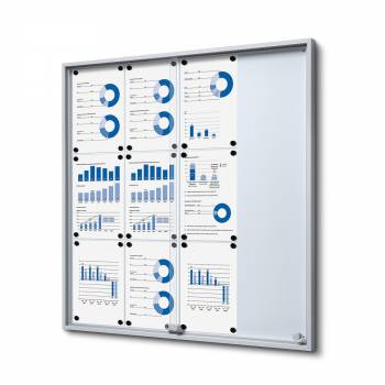 12xA4 Indoor Lockable Noticeboard with sliding doors SLIM