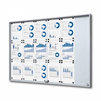18xA4 Indoor Lockable Noticeboard with sliding doors SLIM