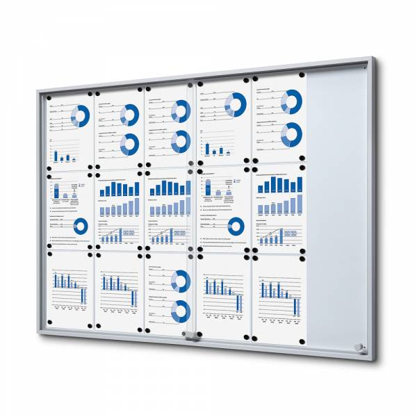Noticeboard with sliding doors - SLIM (18xA4)