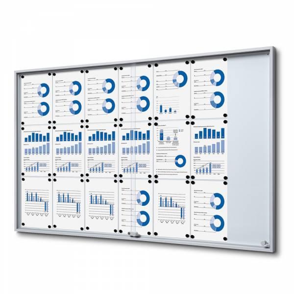 Noticeboard with sliding doors - SLIM (21xA4)