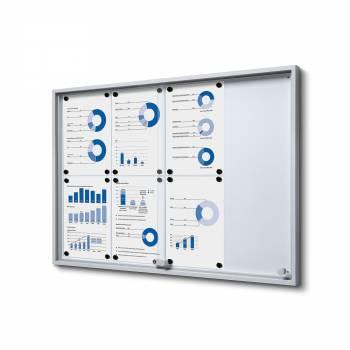 8xA4 Indoor Lockable Noticeboard with sliding doors SLIM