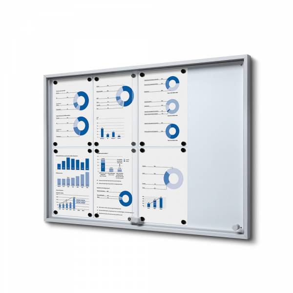Noticeboard with sliding doors - SLIM (8xA4)