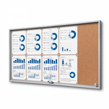 10xA4 Indoor Cork Lockable Noticeboard with sliding doors SLIM