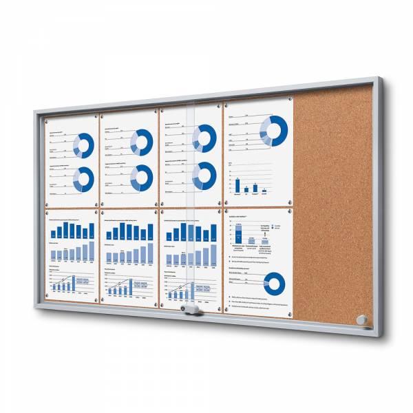 10xA4 Indoor Cork Lockable Noticeboard with sliding doors SLIM