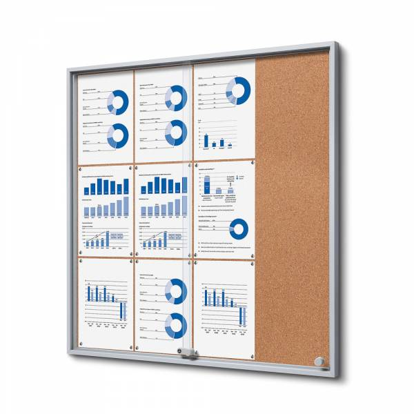 12xA4 Indoor Cork Lockable Noticeboard with sliding doors SLIM
