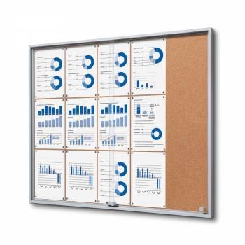 15xA4 Indoor Cork Lockable Noticeboard with sliding doors SLIM