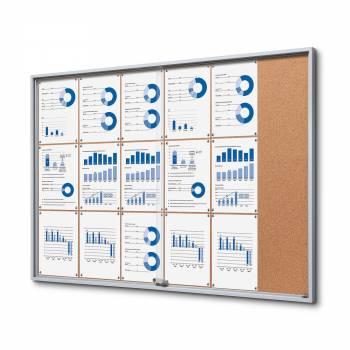 18xA4 Indoor Cork Lockable Noticeboard with sliding doors SLIM