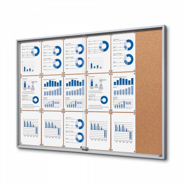 Cork Noticeboard with sliding doors - SLIM (18xA4)