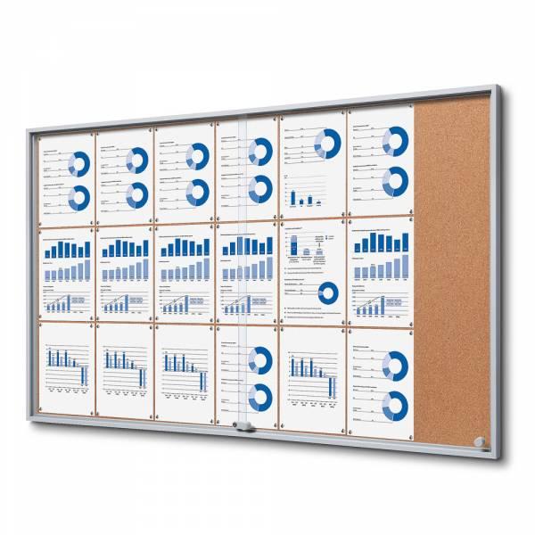 21xA4 Indoor Cork Lockable Noticeboard with sliding doors SLIM