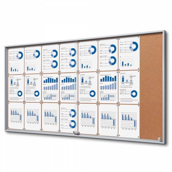 Cork Noticeboard with sliding doors - SLIM (24xA4)