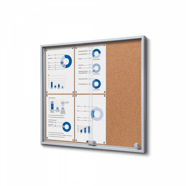 6xA4 Indoor Cork Lockable Noticeboard with sliding doors SLIM