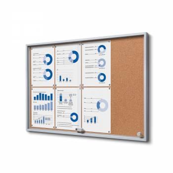 8xA4 Indoor Cork Lockable Noticeboard with sliding doors SLIM