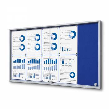8xA4 BLUE Felt Indoor Lockable Noticeboard with sliding doors SLIM