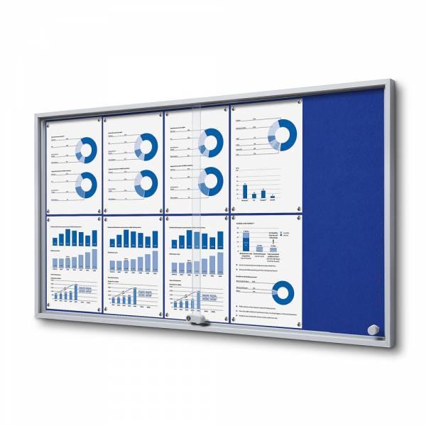 Blue Felt Noticeboard with sliding doors - SLIM (10xA4)