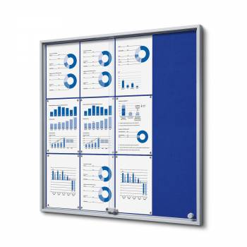 12xA4 BLUE Felt Indoor Lockable Noticeboard with sliding doors SLIM