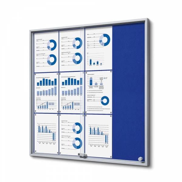 Blue Felt Noticeboard with sliding doors - SLIM (12xA4)