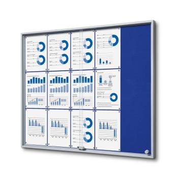 15xA4 BLUE Felt Indoor Lockable Noticeboard with sliding doors SLIM