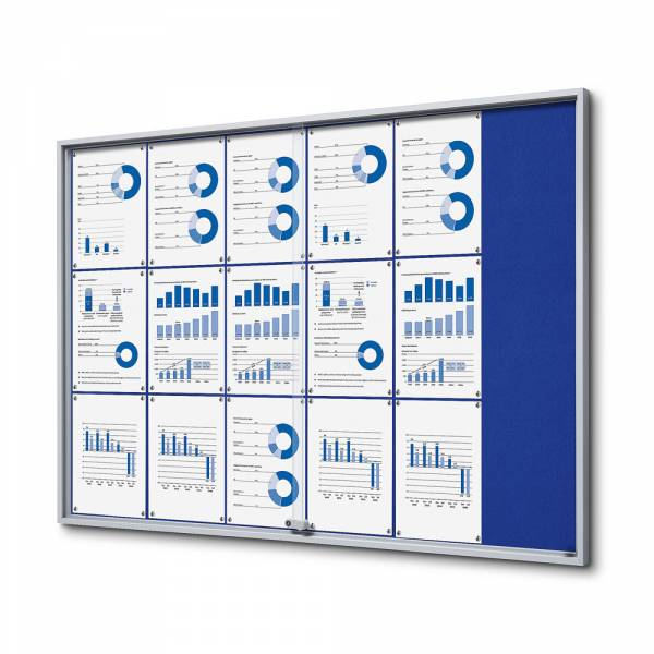 Blue Felt Noticeboard with sliding doors - SLIM (18xA4)