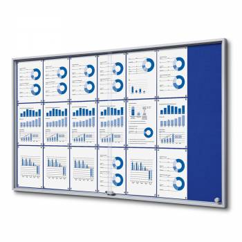 21xA4 BLUE Felt Indoor Lockable Noticeboard with sliding doors SLIM