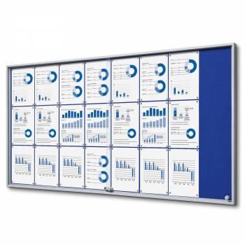 24xA4 BLUE Felt Indoor Lockable Noticeboard with sliding doors SLIM