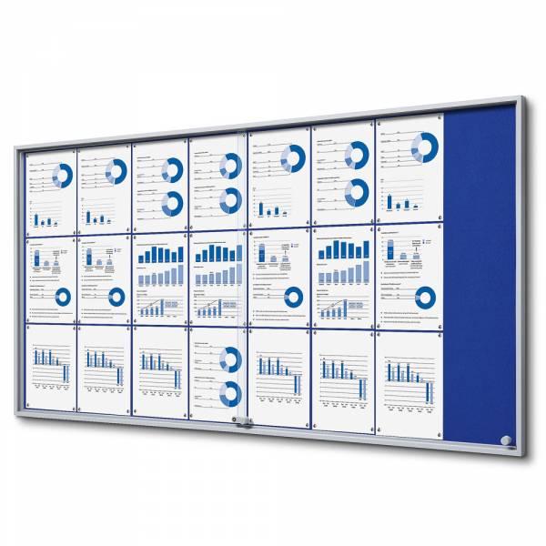 Blue Felt Noticeboard with sliding doors - SLIM (24xA4)