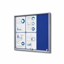 6xA4 BLUE Felt Indoor Lockable Noticeboard with sliding doors SLIM