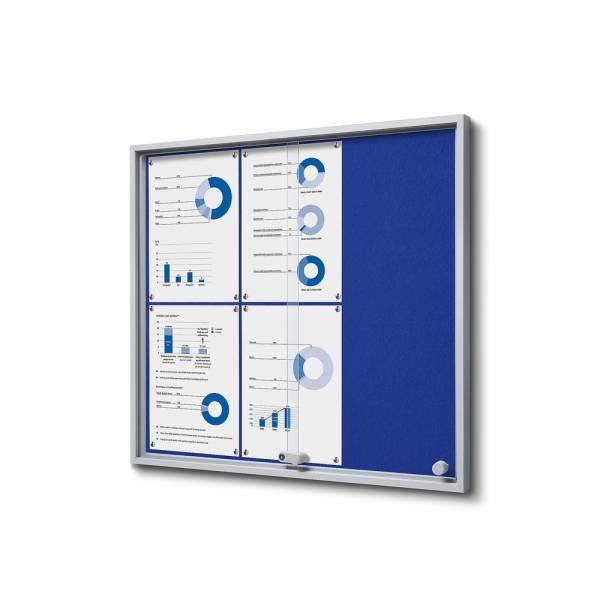 6xA4 BLUE Felt Indoor Lockable Noticeboard with sliding doors SLIM