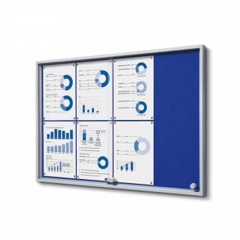 8xA4 BLUE Felt Indoor Lockable Noticeboard with sliding doors SLIM