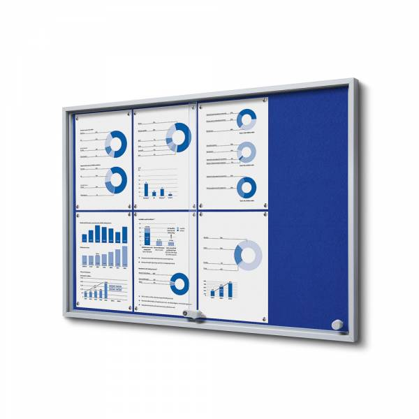 Blue Felt Noticeboard with sliding doors - SLIM (8xA4)