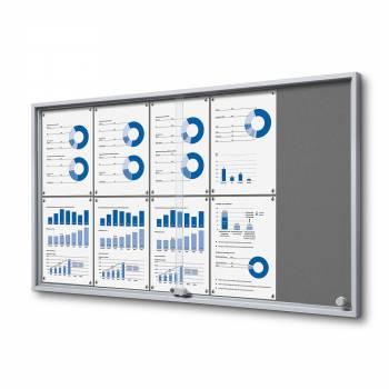 10xA4 GREY Felt Indoor Lockable Noticeboard with sliding doors SLIM