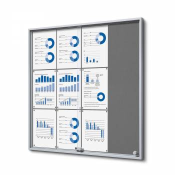 12xA4 GREY Felt Indoor Lockable Noticeboard with sliding doors SLIM