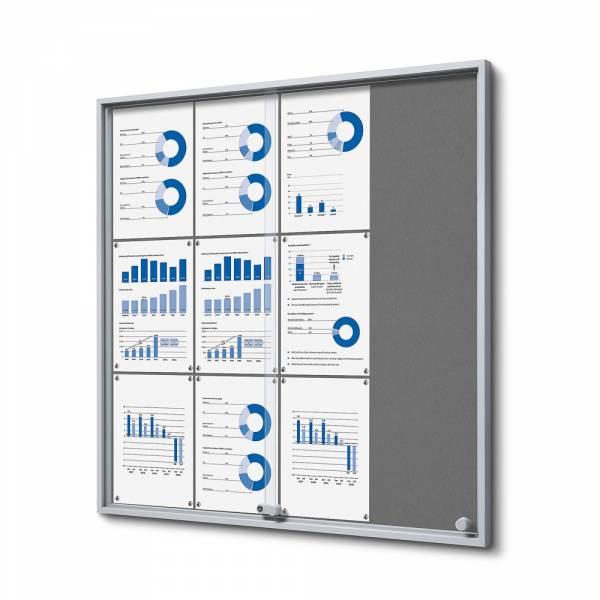12xA4 GREY Felt Indoor Lockable Noticeboard with sliding doors SLIM