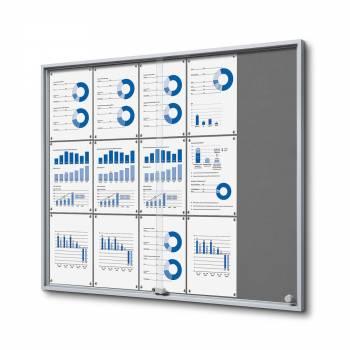 15xA4 GREY Felt Indoor Lockable Noticeboard with sliding doors SLIM