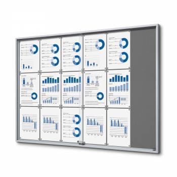 18xA4 GREY Felt Indoor Lockable Noticeboard with sliding doors SLIM