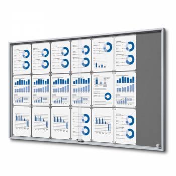 21xA4 GREY Felt Indoor Lockable Noticeboard with sliding doors SLIM