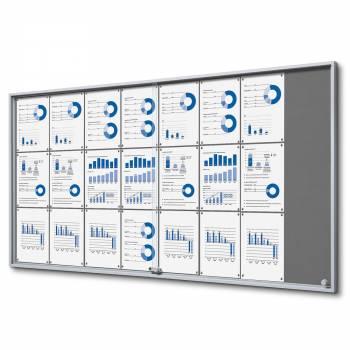 24xA4 GREY Felt Indoor Lockable Noticeboard with sliding doors SLIM