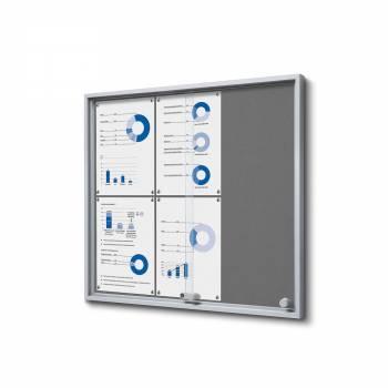 6xA4 GREY Felt Indoor Lockable Noticeboard with sliding doors SLIM